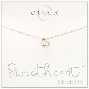"""""""Sweetheart"""" Sterling Silver Heart Necklace on Personalized Jewelry Card"""