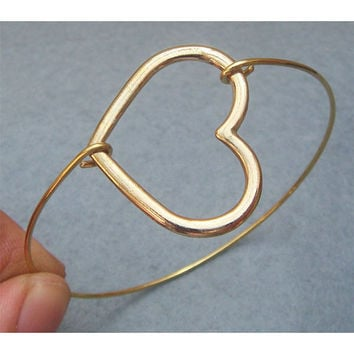 Heart Bangle Bracelet Style 7 by turquoisecity on Etsy