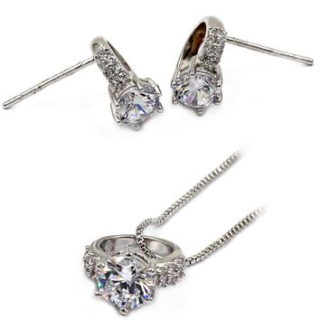 mini ring crystal silver necklace earring set