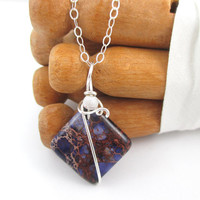 Small Stone Necklace, Purple Stone Pendant, Sterling Silver, Jasper, Wire Wrapped Jewelry