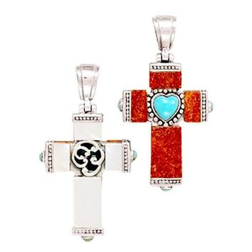 Reversible Sterling Silver Cross Turquoise Pendant
