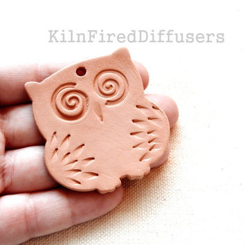 Large Diffuser Owl Hanging, Aromatherapy Essential Oil Diffuser Ornament,  Unglazed Terracotta Bisque Ceramic
