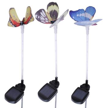 3pcs Colorful Solar Power Simulation Butterfly Lamp 6LED Lawn Path Landscape Light Outdoor Garden Home Decoration