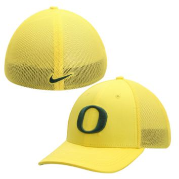 Oregon Ducks Yellow Performance L91 Mesh Back Swoosh Flex Hat