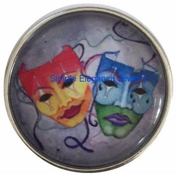 Theatre Drama Mask Snap 20mm for Snap Jewelry