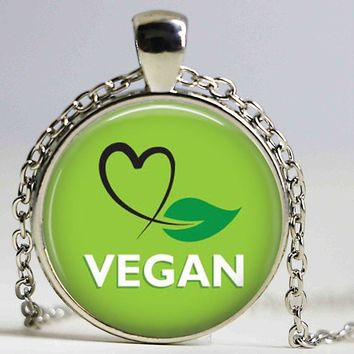 Vegan jewelry , vegetarian pendant, Herbivore necklace, go vegan necklace, paleo diet necklace