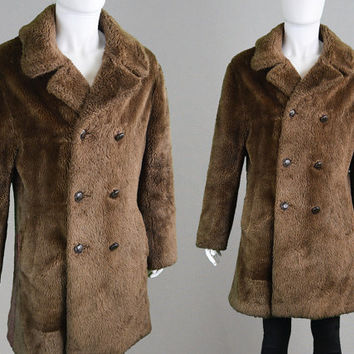 Vintage 60s 70s BURTON Mod Mens Faux Fur Coat Brown Fake Fur Dandy Winter Large L Jacket Car Coat Hunting Jacket 1970s Fashion Vegan Fur
