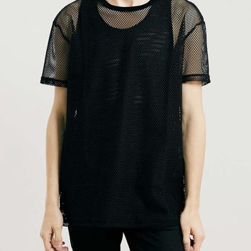 OPEN MESH OVERSIZED T-SHIRT - Topman