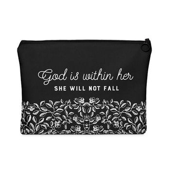 God Is Within Her She Will Not Fall - Makeup Bag, Carry All Pouch, Pencil Bag, Zipper Pouch, Cosmetic Bag, unique gift under 20, Scripture