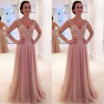 Beautiful Prom Gown A Line Dress to Party Kleider Feestjurken Bayan Elbise Sarees Promdresses Country Long Sleeve Prom Dresses