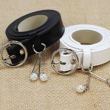 New Fashion Lady Women Bead Faux Leather Waistband Waist Belts Accessories Gift