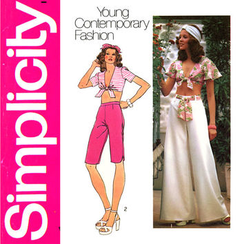 1970s Top and Pants Pattern Bust 36 UNCUT Simplicity 5695 Front Tie Crop Tops Palazzo Pants Capri Pants Womens Vintage Sewing Pattern