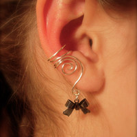 Earcuffs, Ear Wraps, Pair of Silver Ear Cuffs with Black Bow Charms, non pierced Earring alternative