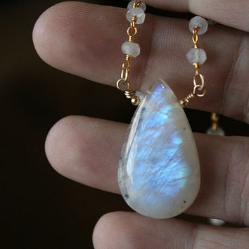 Moonstone Pear Drop Pendant Necklace, Raw Rainbow Moonstone, Rosary Style, Wire Wrapped necklace, White Gemstone