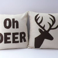 OH DEER a Deer head Silhouette PAIR of pillows / by SewEnglish