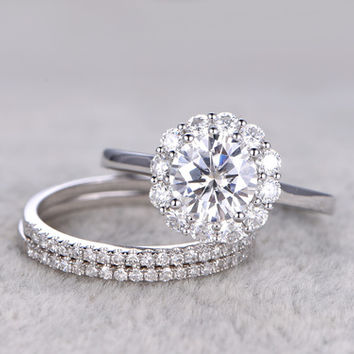 3pcs Moissanite Wedding Ring Set Diamond Matching Band White Gold Flower Halo Thin Pave Stacking 14K/18K
