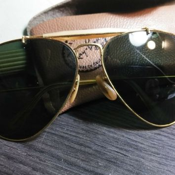 1970's 58mm VINTAGE B&L RAY BAN G15 CABLE OUTDOORSMAN SHOOTER AVIATOR SUNGLASSES