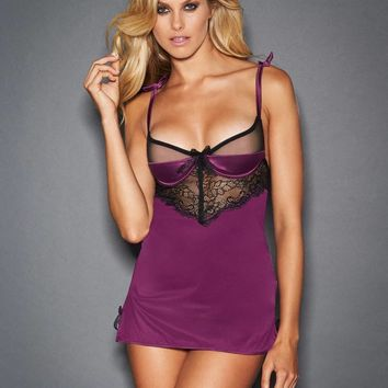 Violet Satin and Lace Babydoll