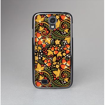The Colorful Floral Pattern with Strawberries Skin-Sert Case for the Samsung Galaxy S4