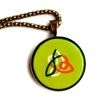 Celtic Knot Necklace, Irish Necklace, Hand Painted Pendant, Celtic Trinity Knot Necklace, Irish Gifts, Unisex Jewelry, Celtic Jewelry