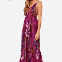 LULUS Exclusive Titania's Woods Backless Purple Print Maxi Dress