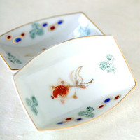 Vintage Ceramic Goldfish Sushi Sauce Dishes, Omochaya Japan Set of Two