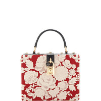 Rosso And Ecru Embroidered Cady Box Bag by Dolce & Gabbana - Moda Operandi