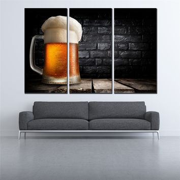 Wall Painting Art Picture Paint on Canvas for living room nostalgic beer poster 3 pcs canvas art unframe nordic poster SL-010
