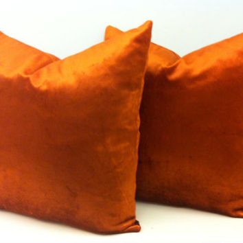 Set of 2 Copper Velvet Pillow Cover,Velvet Pillow,Orange Pillow,Decorative Pillows,Rusty Orange Velvet Cushion Covers,Velvet Throw Pillows