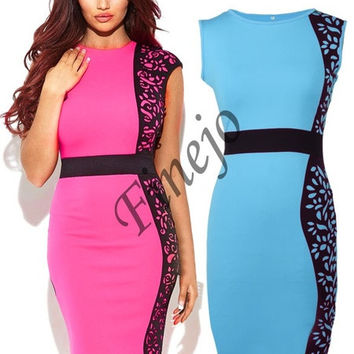 New Fashion Women Summer dress Slim Tunic print Floral dresses Party Plus Size sexy bodycon dress   SV001987 = 1902458436