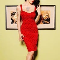The Vamp Dress in Red with Black Dots by Deadly Dames