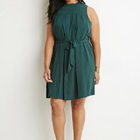 Pleated Self-Tie Dress