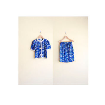 Vintage 80s Blue Skirt Set - 2 Piece Outfit 2 Piece Set Matching Set Two Piece Playsuit Two Piece Dress 80s Outfit Skirt Suit Bow Top Small