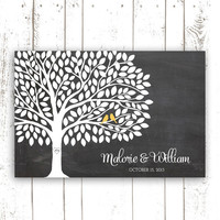 Guest Book Tree - Wedding Guest Book Alternative with 200 Leaves - Chalkboard Wedding