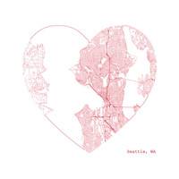 Seattle Heart for a City Map Print