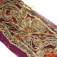 Zari Work At Its Finest Vintage Sari Border Trim Intricate Gold Hand Embroidery Over A Magenta Silk Chiffon Incredible 1 Yard