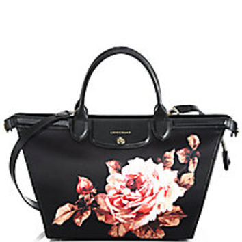 Longchamp - Le Pliage Heritage Rose-Print Nylon & Leather Satchel - Saks Fifth Avenue Mobile