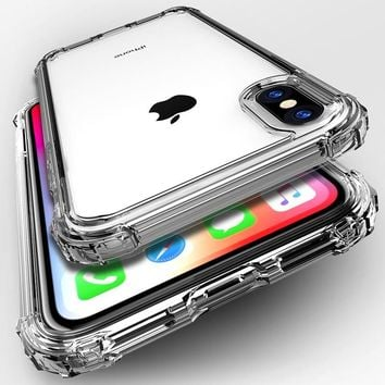 Fashion Shockproof Bumper Transparent Silicone Phone Case For iPhone X XS XR XS Max 8 7 6 6S Plus Clear protection Back Cover