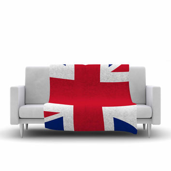 "Bruce Stanfield ""Classic Union Jack"" Blue Red Fleece Throw Blanket"