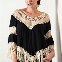 Crochet Knit Frayed Top - Black