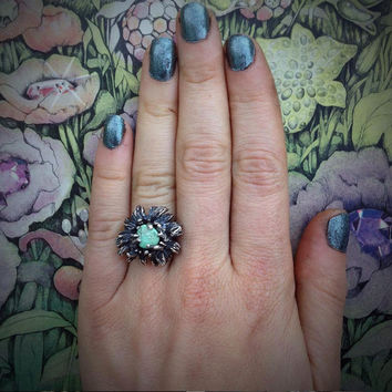 Silver and Turquoise Ring - Chrysanthemum - brutalist revival ring - hand carved from wax and cast in my Austin Tx Studio - Sterling Silver