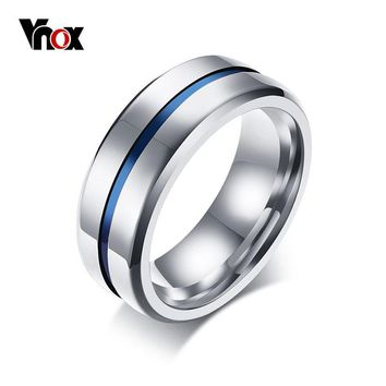 Vnox Classic 8mm Mens Engagement Ring Stainless Steel Thin blue Line Wedding Bands Ring Drop Shipping US Size 7-12