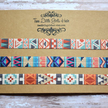 Indian Summer Aztec Headbands, Boho Headbands, Elastic Headbands Set, Navajo, Native American, baby + kids + adult, printed headbands