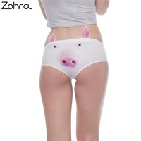 Zohra New Arrvial Women Fashion Ear Underwear Kawaii Pig 3D Printing Sexy Panties Woman Underwear