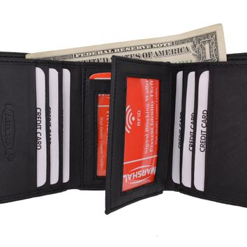New RFID Blocking Mens Soft Crocodile Pattern Leather Trifold Wallet with Flap RFIDP1107CR (C)