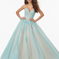 Loverxu Elegant Sweetheart Blue Long Ball Gown Prom Dresses 2016 Appliques Beaded Organza Party Gown Vestido De Festa Plus Size