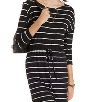 Black Combo Bodycon Striped T-Shirt Dress by Charlotte Russe