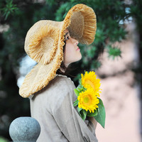 crochet hat women crochet sun hat with wide brim in different colors accepting custom order whit flower