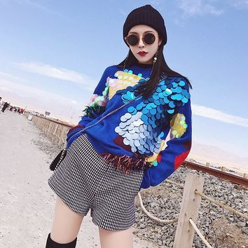 Women's Patchwork Sequin Pullover Knitted Sweater