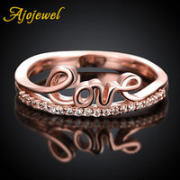 Best Mother Gift Mother Day Ajojewel Brand Female CZ Jewelry Womens Rose Gold Thin Simple Word Love Ring Letter Bague